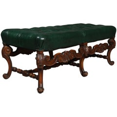 Kittinger Style Continental Button Tufted Leather and Carved Walnut Bench