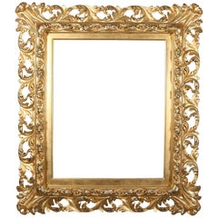 Antique French Louis XIV Reticulated Gold Giltwood Acanthus First Finish Frame