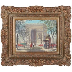 French Oil on Canvas Paris Cityscape Arc De Triomphe in Giltwood, Signed