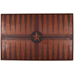 Antique Folk Art Two-Tone Parquetry Inlay Backgammon Game Board with Star