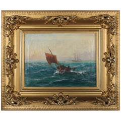 Antique Oil on Canvas Seascape Maritime Painting by G Sutcliffe