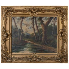 Antique Oil on Canvas Impressionist Landscape Woodland Scene by A. Foyr