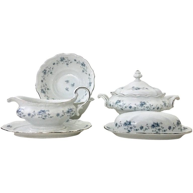 1950'S German Porcelain & Platinum Serving Piece S/7 by, Johann Haviland
