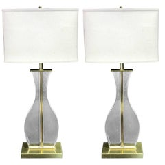 Pair of Sculptural Motif Brass and Lucite Table Lamps