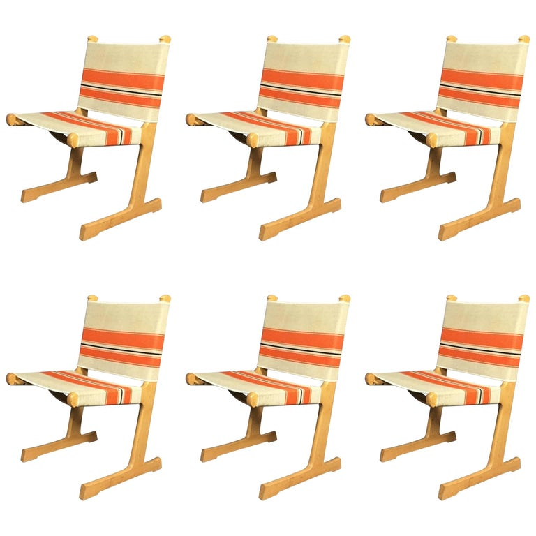 Six Cantilevered Danish Dining Chairs by Ditte and Adrian Heath for France & Son