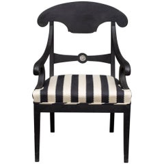 Armchair Swedish Black Neoclassical, 19th Century Sweden