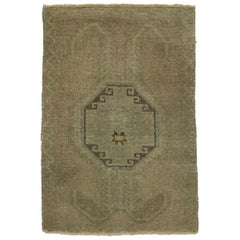 Vintage Turkish Oushak Rug Yastik Accent Rug with Warm Earth Tone Colors