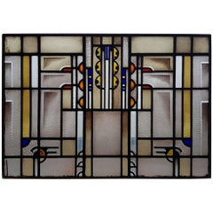 Early 20th Century Stained Glass Panel Amsterdam School Art