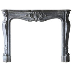 Antique Fireplace of the Italian Marble Blue Turquin, 18th century, Louis XV