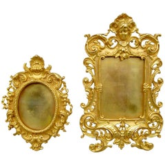 Set of Two Louis XV Style Gilt Bronze Photo Frames, Late 19th Century