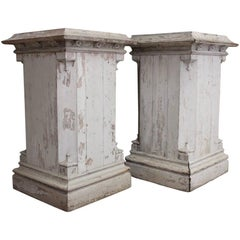 Very Large Pair of 19th Century English Country House Painted Wooden Plinths