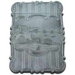 "Victorian Silver ""Castle-Top"" Card Case Brighton Chain Pier Nathaniel Mills"