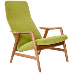 High Back Lounge Chair in Teak, Upholstered in Green Kwadrat Fabric