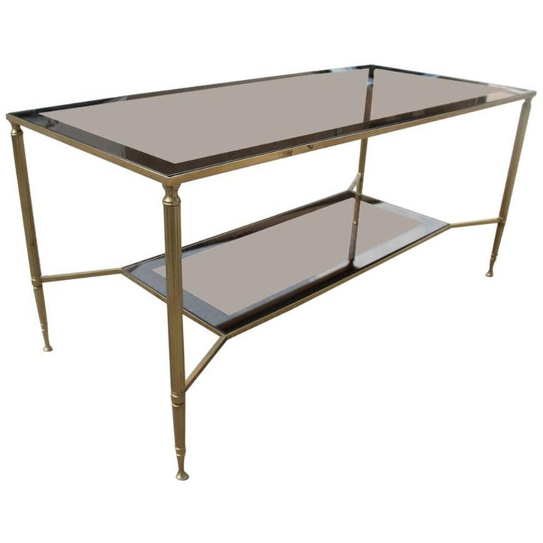 Elegant Brass And Glass Coffee Table: Italian Marble Brass And Glass Coffee Table For Sale At
