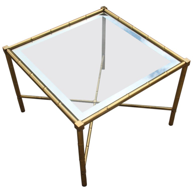 Coffee Table in Solid Brass and glass Italian Design 1970s