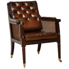 Antique Leather and Caned Mahogany Armchair