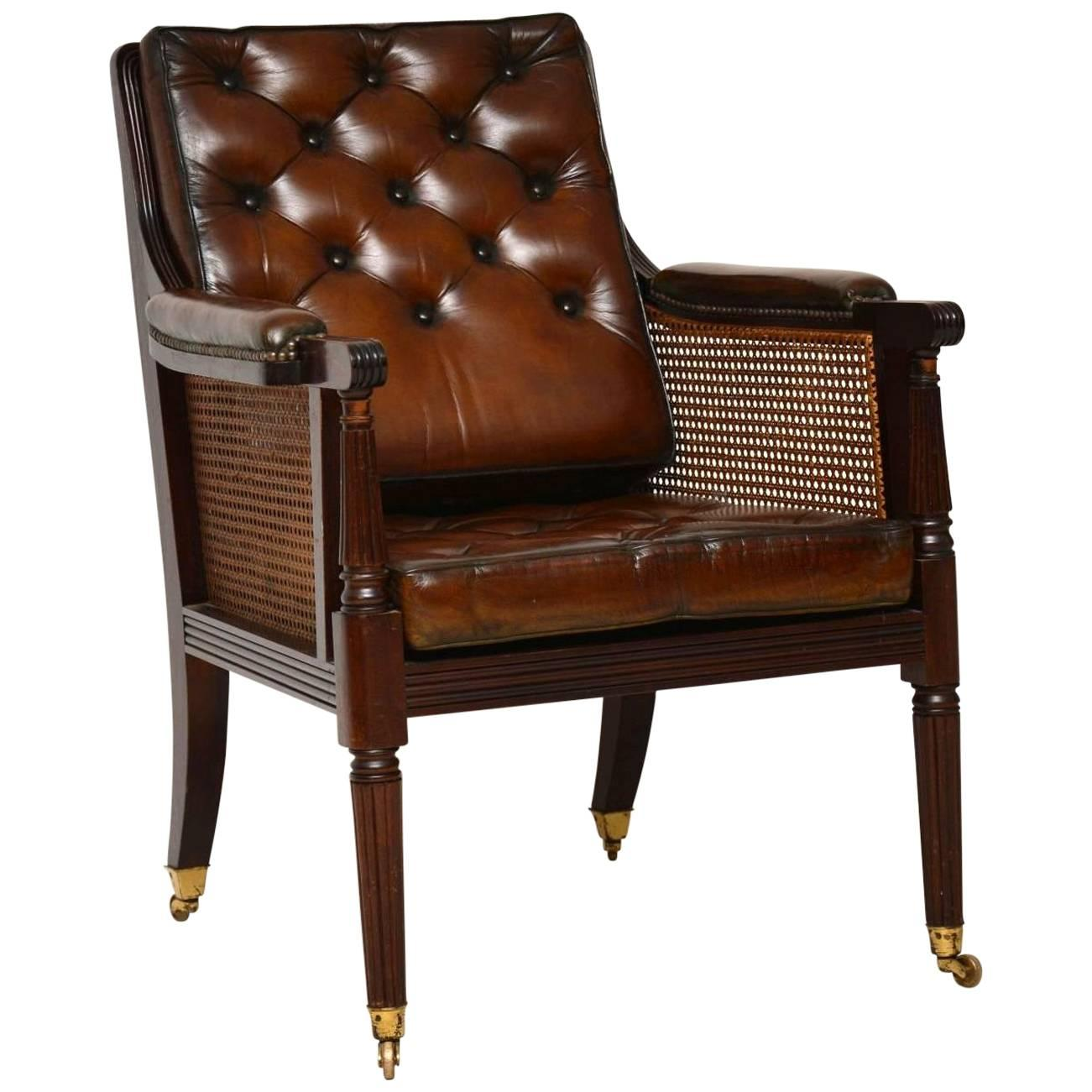 Charmant Antique Leather And Caned Mahogany Armchair For Sale