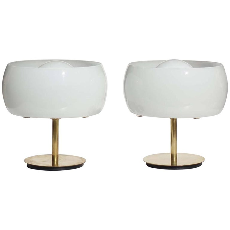 Erse by Vico Magistretti Artemide 1960s Italian Design Brass Pair of Table Lamps