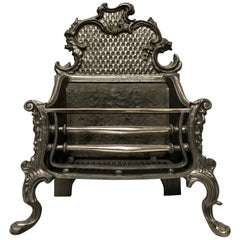 20th Century Georgian Style Cast Iron Rococo Fire Basket Grate