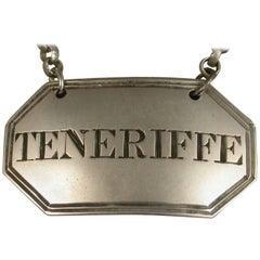 Rare Irish Provincial Silver Wine Label 'Teneriffe' by John Tolekin, Cork