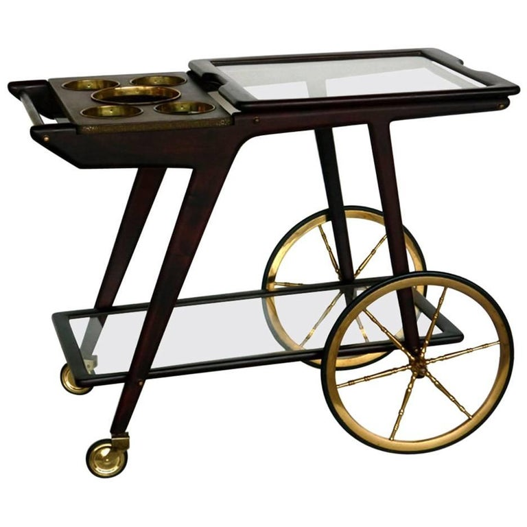 1950s by Cesare Lacca Italian Midcentury Brass Rosewood Trolley Bar Cart