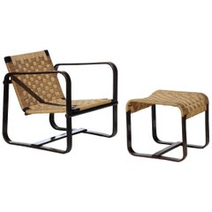 """Bocconi"" by Giuseppe Pagano Rationalist Design Plywood Armchair and Stool"