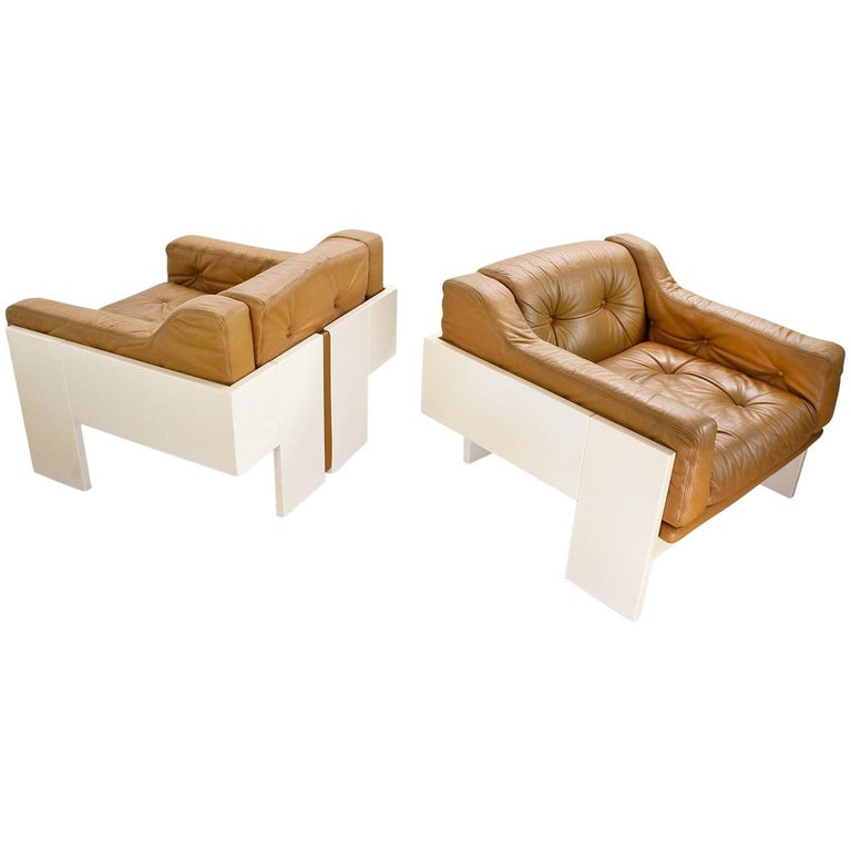 Set of Midcentury Leather Lounge Chairs by Claudio Salocchi for Sormani, Italy