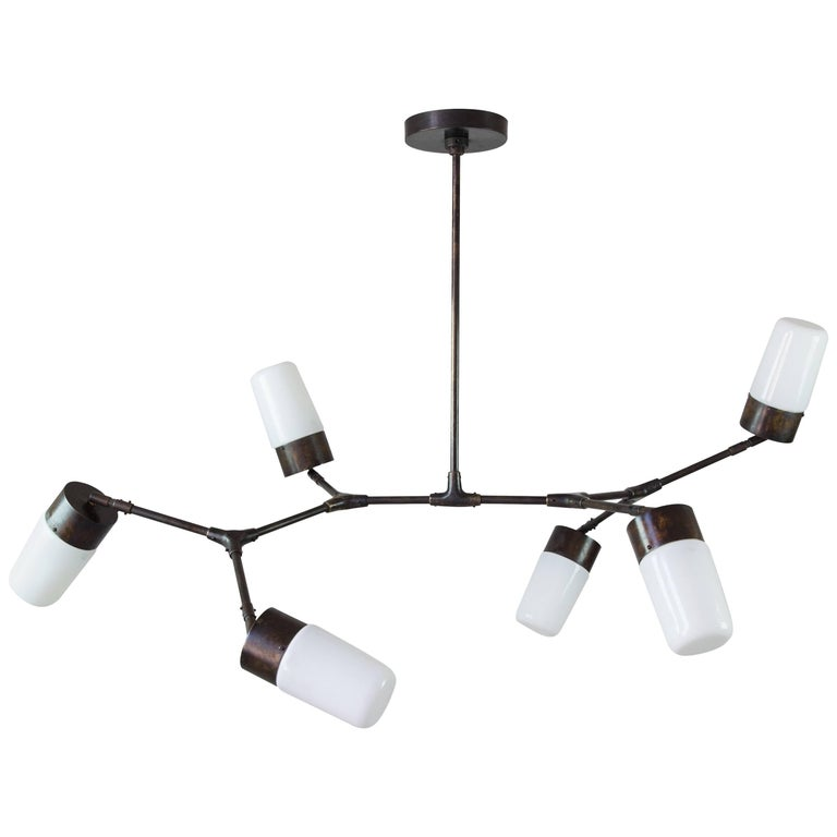 Contemporary Articulated Pendant Lamp, Six Glass, Bronze, Brass, Thierry Jeannot