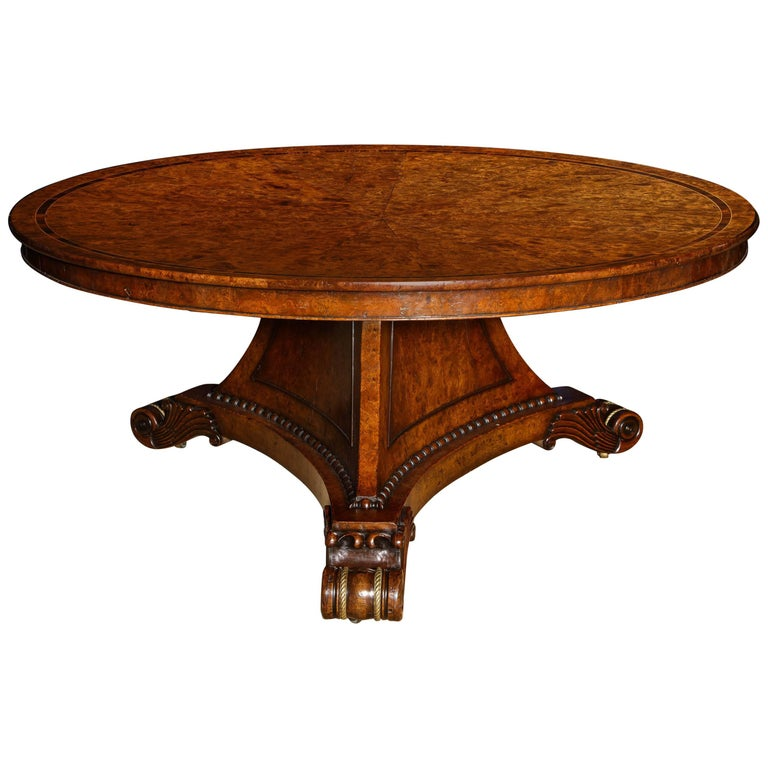 Large Regency Pollard Elm Circular Center Table, English, circa 1820 In Stock