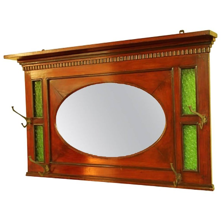 Antique Arts And Crafts Wall Mounted Mirrored Hat Stand At 1stdibs