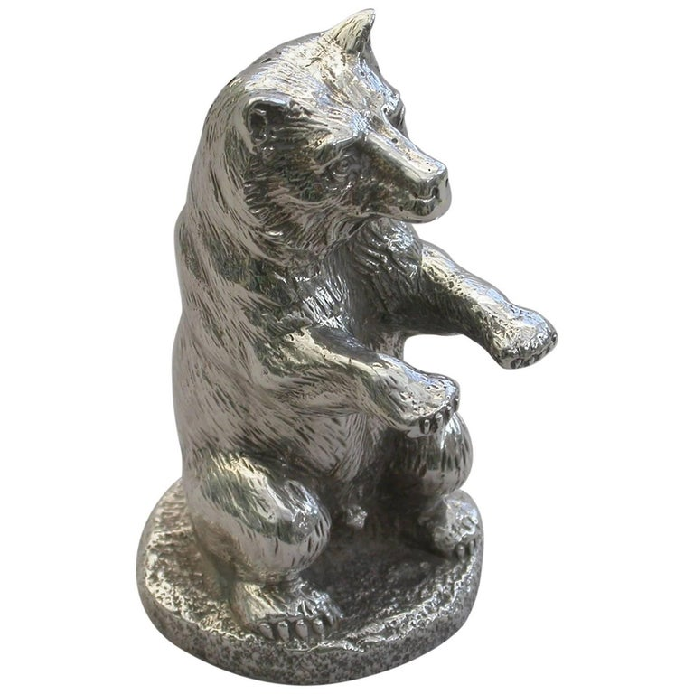 Victorian Novelty Cast Silver Crouching Bear Pepper E H Stockwell, London, 1875