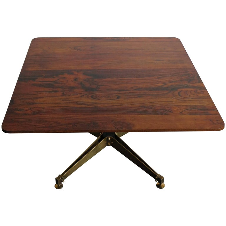 1950s Italian Square Rosewood and Brass Midcentury Modern Design Coffee Table For Sale