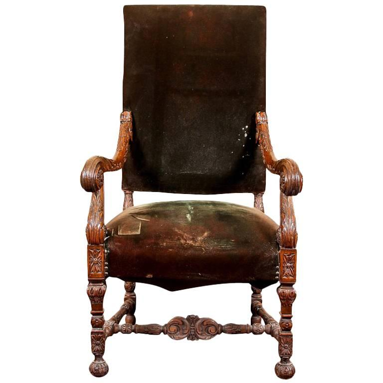 Antique Carved Victorian Hall Chair with Old Velevet Upholstery For Sale - Antique Carved Victorian Hall Chair With Old Velevet Upholstery For