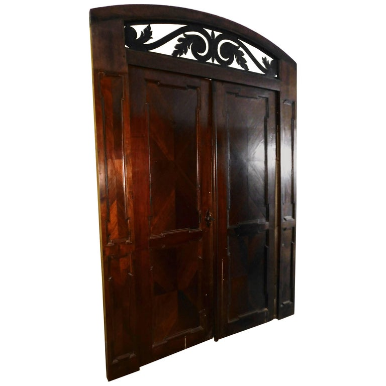 Antique Walnut double Door , original frame and iron, '700 Italy For Sale