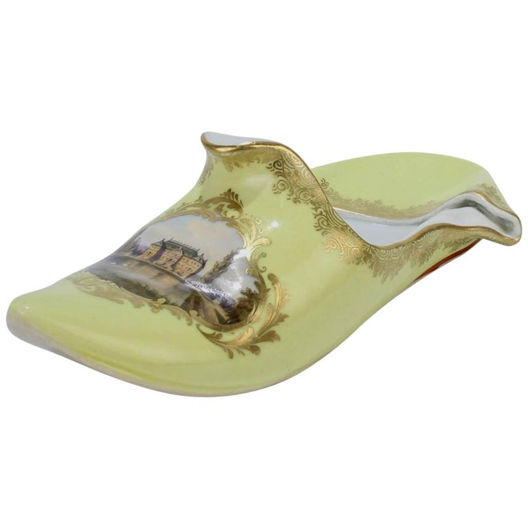 Antique Topographical Meissen Porcelain Shoe with Dresden Palace & Gardens Scene