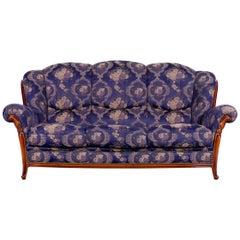 Nieri Palatino Designer Sofa Purple Blue Fabric Three-Seat Couch Flowers