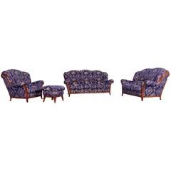 Nieri Palatino Designer Sofa Set Purple Blue Fabric Couch 3+2+1+Footstool