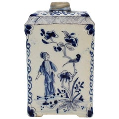 Antique Dutch Delft Blue and White Tin Glazed Pottery Tea Caddy