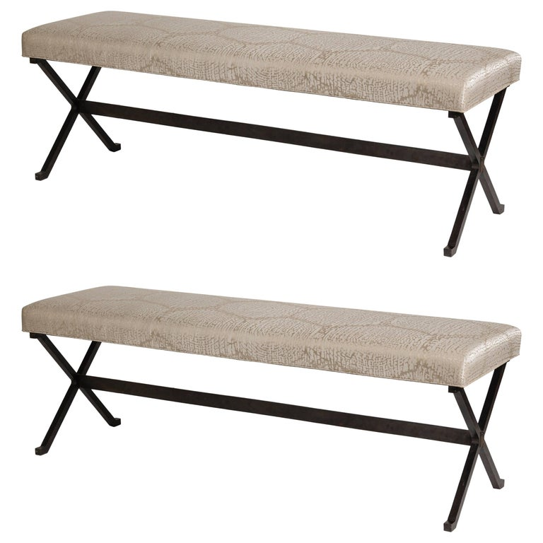 Pair of X-Based Benches, France, 1970s