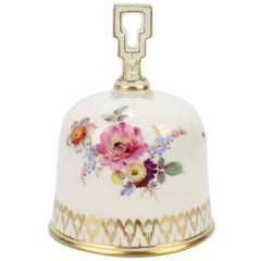 Meissen Porcelain Table Bell with Hand-Painted Dresden Flowers Decoration
