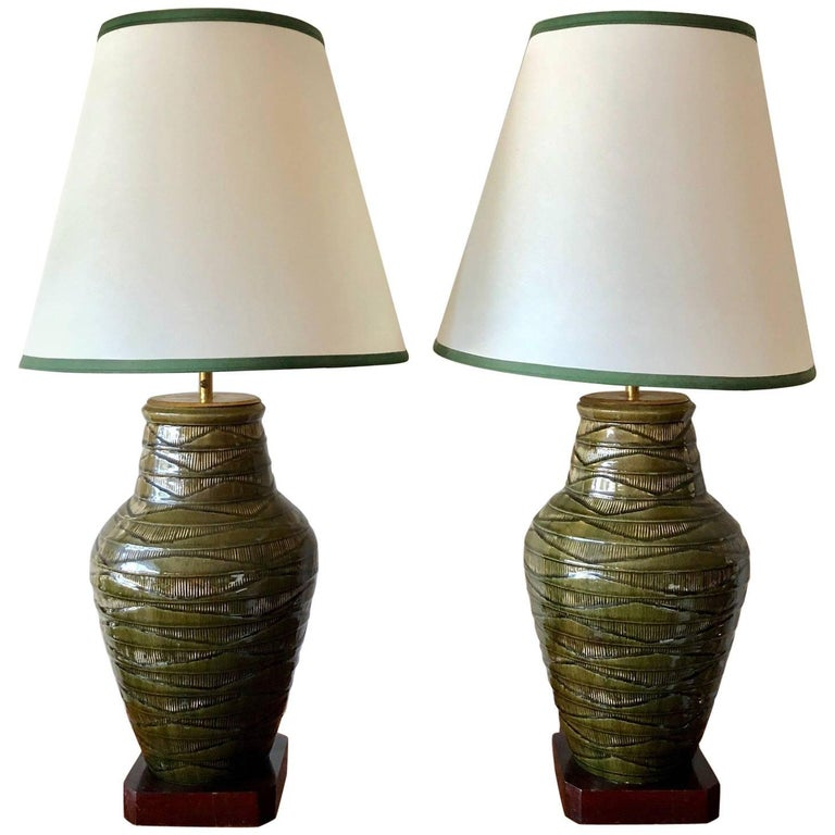 Pair of Impressive Thai Celadon Green Porcelain Crackle Lamps For Sale