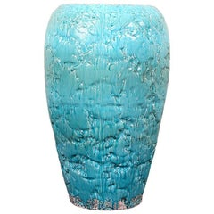 Large Contemporary Turquoise Glazed Pottery Vase
