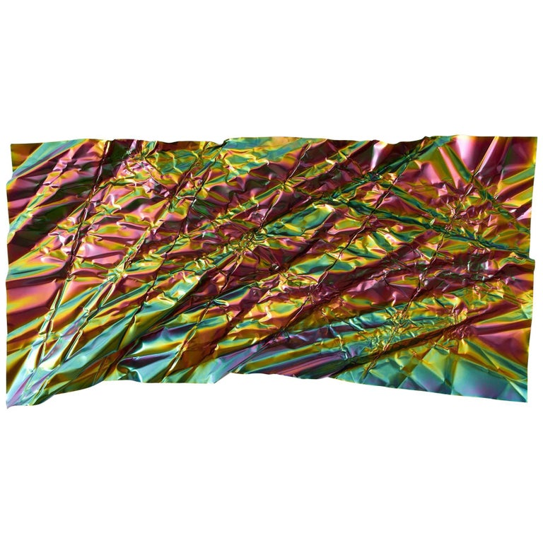 Christopher Prinz Iridescent Wrinkled Wall Panel For Sale