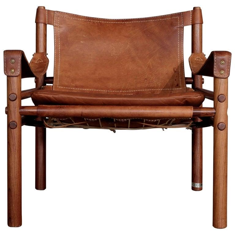 Arne Norell Cognac Leather Safari Chair Model Sirocco, 1960s