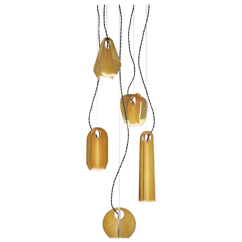 Tessere five lights led pendant chandelier solid brass minimal light fixtures for sale at 1stdibs