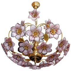 Mid-Century Italian Murano Pink Flower Bouquet Art Glass & Gilt Brass Chandelier