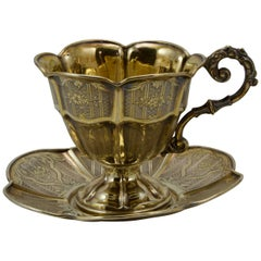 19th Century Vermeil Decorative Chocolate Cup Made in Paris