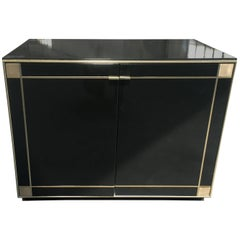Italian Low Cabinet with Brass Details from 1970s