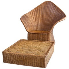 Midcentury Triangular Wicker Armchair and Ottoman