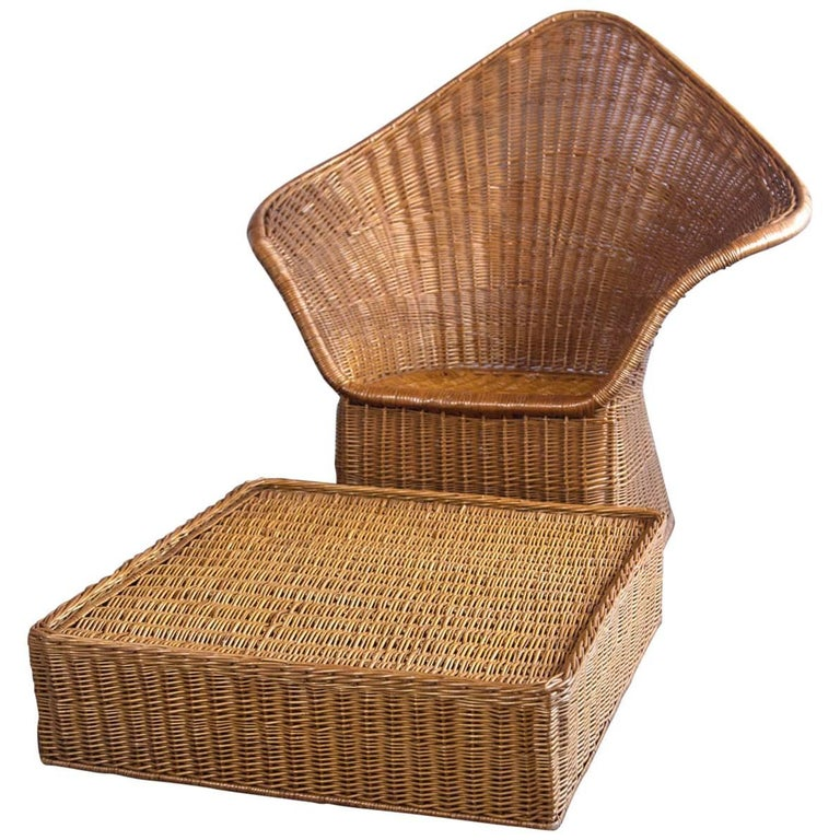 Midcentury Triangular Wicker Armchair and Ottoman For Sale